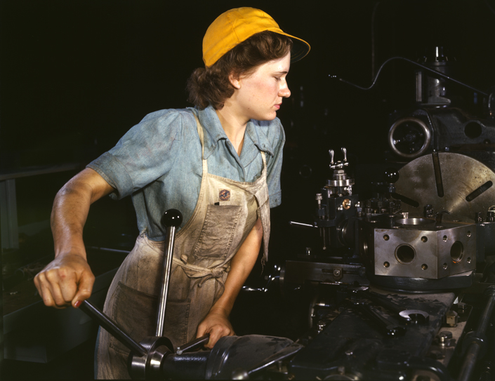 Woman in factory in 1940's